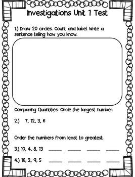 Investigations Grade 1 Unit Assessments