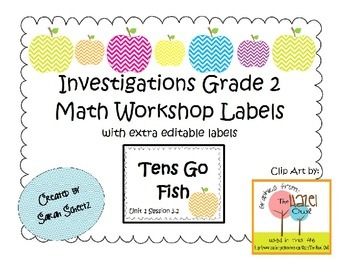 Investigations Math Workshop Labels - Editable