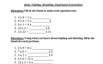 Math Quiz: Tripling, Doubling, Equivalent Expressions