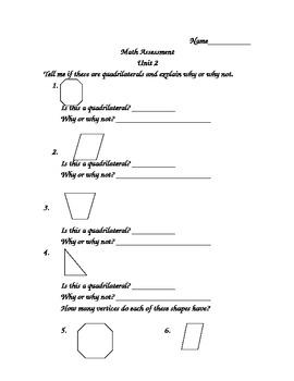 Investigations (TERC) End of Unit 2 Second Grade Math Assessment