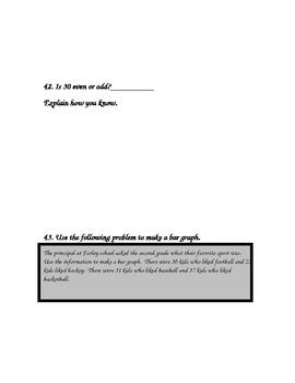 Investigations (TERC) End of Unit 8 Second Grade Math Assessment