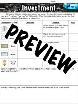Investment Worksheet