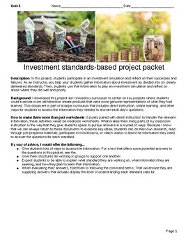 Investment standards-based project packet