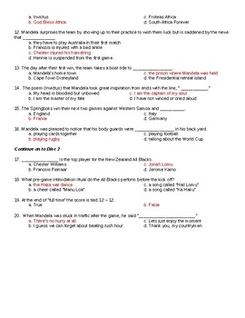 Invictus (2009 film) worksheet