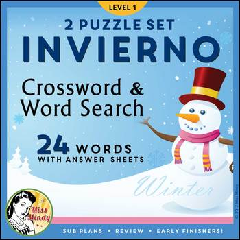 Invierno: Las Estaciones Spanish Winter Season Crossword Word Search ...