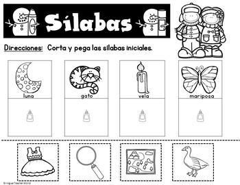 Invierno:  Todo Sobre Las Silabas FREEBIE SAMPLER