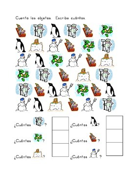 Invierno Winter Counting worksheets in Spanish