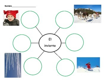 Invierno Winter Thinking Maps in Spanish for Writing