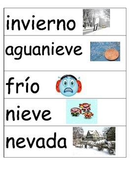 Invierno Winter Word Wall Words