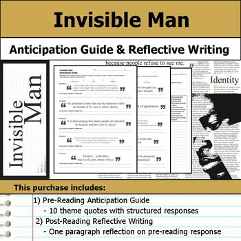 Invisible Man Anticipation Guide Reflection Writing By S J Brull