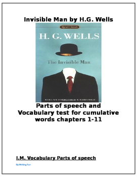 Invisible Man by Wells Vocabulary Test and Parts of Speech exercise