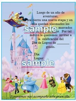 Invitación Disney Princess para Día de Logros