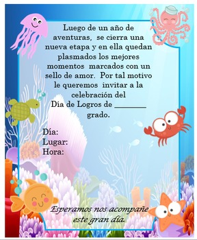 Invitación día de  Logros - Motivo  Animales Fondo del mar