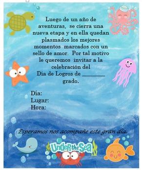 Invitación día de  Logros - Motivo  Fondo del mar