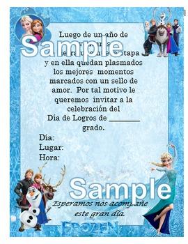 Invitación día de  Logros - Motivo Frozen