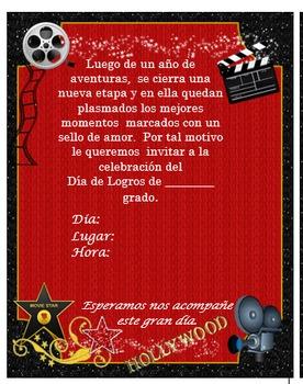 Invitación día de  Logros - Motivo Hollywood