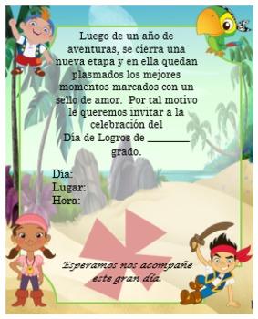 Invitación día de  Logros - Motivo  Jake el Pirata