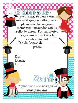 Invitación día de  Logros - Motivo Mago fondo colores pasteles