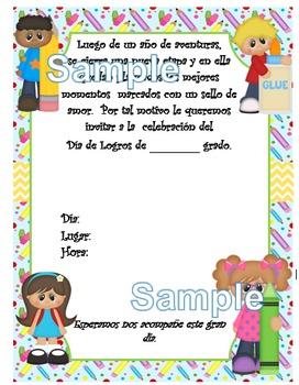 Invitación día de  Logros - Motivo Material educativo fondo azul