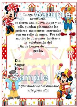 Invitación día de  Logros - Motivo Mickey Circus