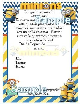 Invitación día de  Logros - Motivo Minions