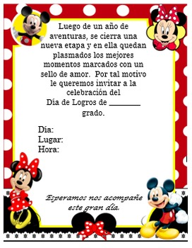 Invitación día de  Logros - Motivo  Minnie and Mickey