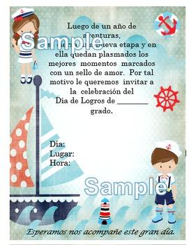 Invitación día de  Logros - Motivo Nautical fondo barco