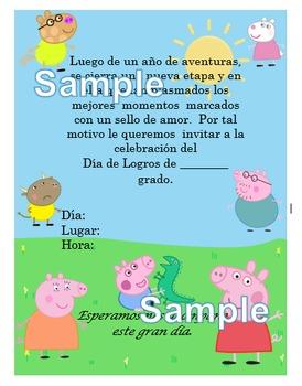 Invitación día de  Logros - Motivo Peppa Pig