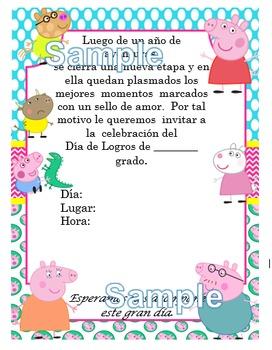 Invitación día de  Logros - Motivo Peppa Pig fondo azul y rosa