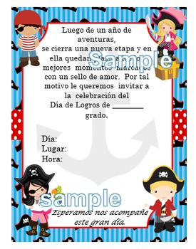 Invitación día de  Logros - Motivo Piratas