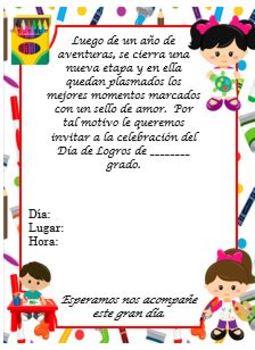 Invitación niños y material educativo