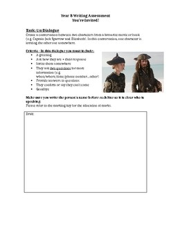 Invitation dialogue - French writing task/assessment