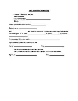 Invitation to IEP Meeting