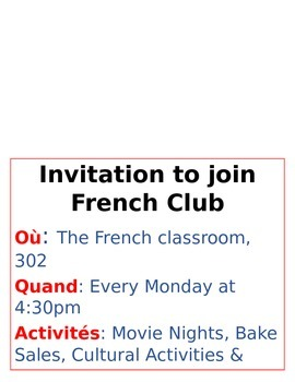 Invitation to Join French Club