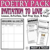 Invitation to Love by Dunbar Common Core Poetry Test Prep Lesson Quiz Activities