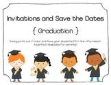 Kindergarten Graduation Invitations and Save the Dates (Blank)