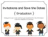 Kindergarten Graduation Invitations and Save the Dates (Blank)