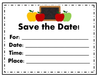 Back to School Invitations and Save the Dates (Blank) for Back to School
