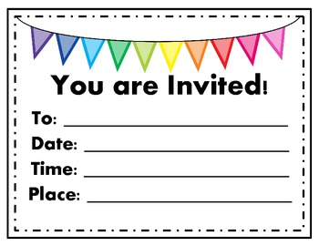 Invitations and Save the Dates (Blank) for Spring/End of the School Year