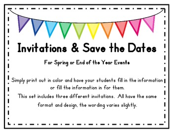 Invitations and Save the Dates (Blank) for Spring/End of t