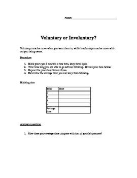 Involuntary vs Voluntary Muscular Movement  Blinking Activity!