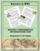 Involved or Isolated:  America In World War 1--Informational Text Worksheet