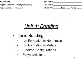 Ionic Bonding, Ionic Radius, and Polyatomic Ions
