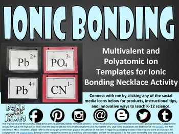 Ionic Bonding Necklace Templates