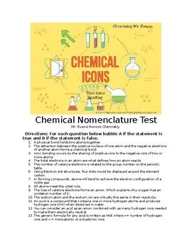 Ionic Bonding Nomenclature Test