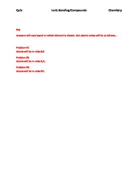 Ionic Bonding Quiz