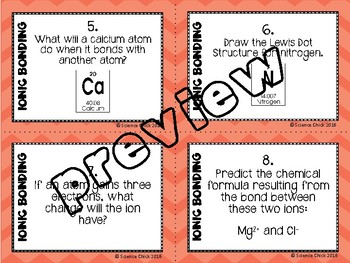 Ionic Bonding Task Cards - with or without QR codes