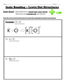 Ionic Bonds Worksheet Teaching Resources Teachers Pay Teachers