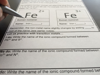 Ionic Bonding and Ionic Compounds for Chemistry Interactive Notebooks