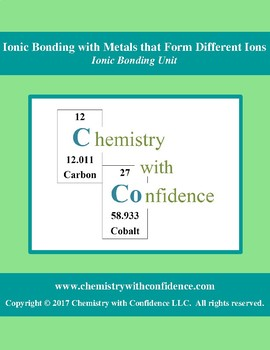 Ionic Bonding w/ Metals that Form Dif. Ions